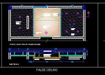 Master Toilet Layout with False Ceiling and Flooring Detail Free DWG Download
