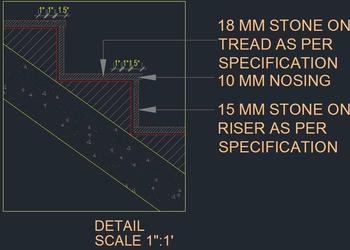 R.C.C. Staircase Sectional Tread and Riser Detail