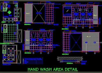 Hand wash area working drawing