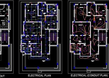 Twin House Space Planning (35'x65') Floor Layout DWG Free Download