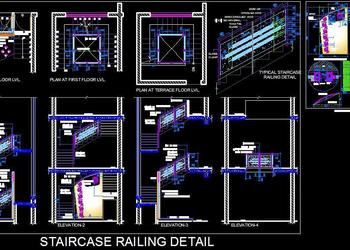 Stainless Steel Glass Railing Design- DWG File