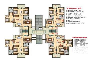 2 and 3 BHK Apartment Cluster Tower Layout