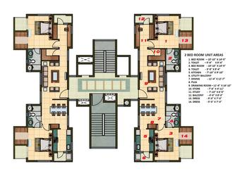 2 BHK Apartment Cluster Tower Layout