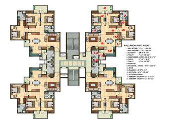 3 BHK Apartment Cluster Tower Layout