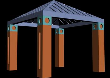 Simple Hut Style Gazebo Pavilion 3d view