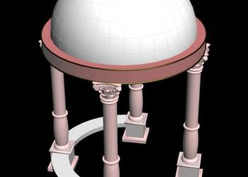 Traditional Dome Roof Gazebo 3d view