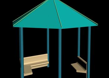 Contemporary Style Gazebo Pavilion 3d view