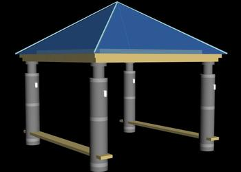 Traditional Gazebo Pavilion 3d view