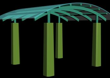 Gazebo Style Entry Porch 3d view