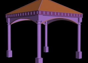 Traditional Hut Style Gazebo Pavilion 3d view