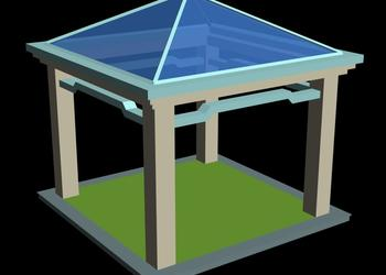 Simple Hut Style Gazebo Design 3d view