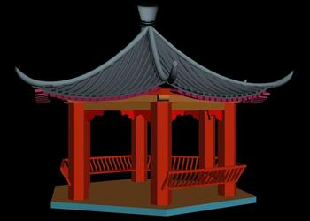 Chinese Style contemporary  Gazebo Pavilion 3d view
