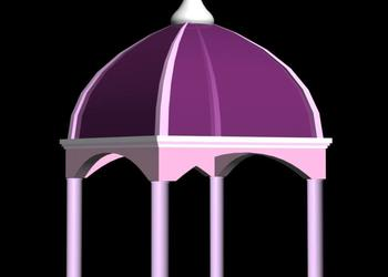 Dome Roof Gazebo Entrance Plaza 3d view