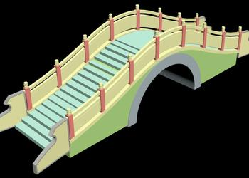 Garden Step Bridge 3d view