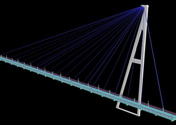 Long Suspension Bridge Design 3d view