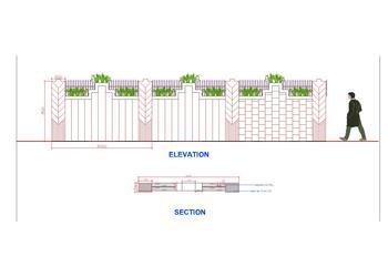 Compound Wall Design Free DWG Drawing Download