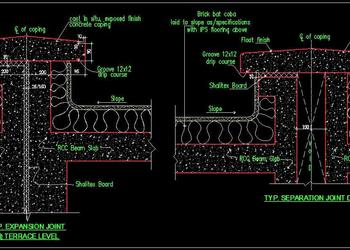 Expansion Joint & Separation Joint Detail for Terrace DWG cad Drawing
