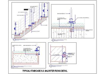 S.S Staircase Design With Baluster Fixing Detail