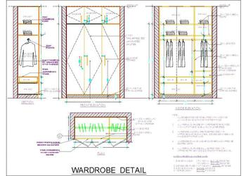 Wooden Wardrobe Design Detail- 5' size