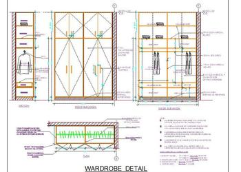 Wooden Wardrobe Design Detail- 6' size