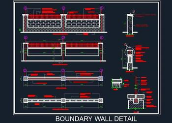 Boundary Wall Elevation And Details
