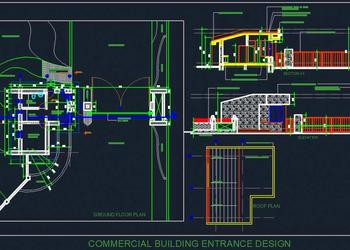 Commercial Building Entrance Design With Entry Exit Gate