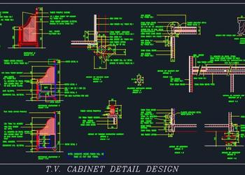 Study table cum TV unit design - Autocad DWG | Plan n Design