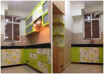 Live Working Indian Modular Kitchen Design Detail, Simple with vibrant colours- Plan n Design