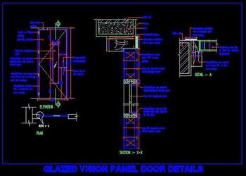 Flush Door With Glass Vision Panel Autocad File Download  (www.planndesign.com)