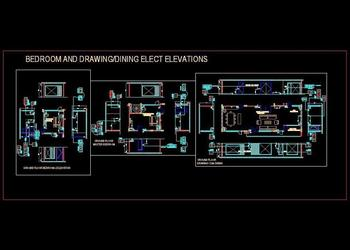 Electrical Design Autocad File Download (www.planndesign.com) Bedroom and Drawing cum Dining Hall
