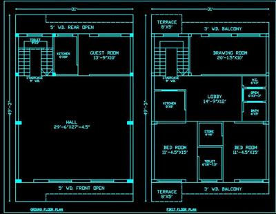 House Space Planning 30 X50 Floor Layout Plan Dwg Drawing