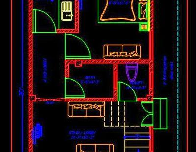 house space planning 15'x30' floor plan dwg free download