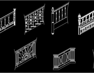 Staircase Railing Design Cad Blocks DWG Drawing - Autocad