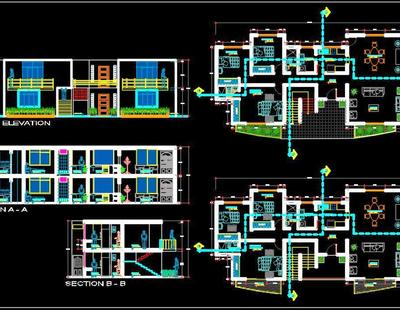 Storey House Floor Plan Autocad Architecture Dwg Download