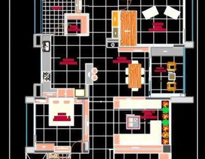 3 Bhk Luxurious Apartment Autocad House Plan Drawing