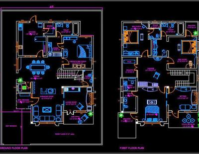Duplex House 45 X60 Autocad House Plan Drawing Free