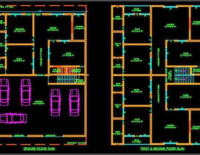 Multi Family Residential Building 45 X60 Autocad