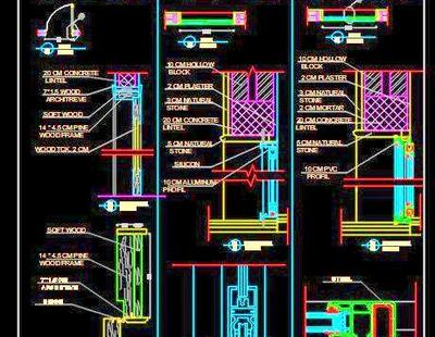 Aluminium, PVC and Wood Frame Door Cad Detail DWG