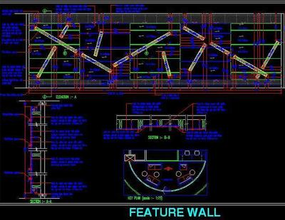 feature wall with asymmetrical design autocad dwg file. Black Bedroom Furniture Sets. Home Design Ideas