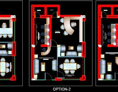 Different layout Options of small office  dwg - Autocad DWG | Plan n