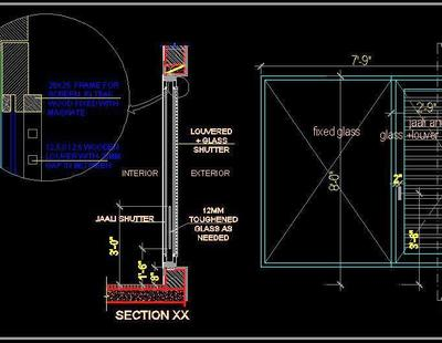 Window Shutter With Jaali Glass And Louver Autocad Dwg