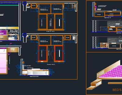Construction Detail And 3d View Of Bed Autocad Dwg