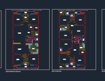 Four Storey Independent House Planning 30 X60 Autocad
