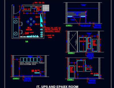 Server Room Ups Epabx It Layout With Wall Elevations
