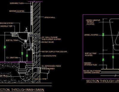 Typical Section Of Wash Basin And Urinal Autocad Dwg