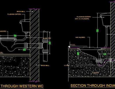 Typical Section Of Wc Autocad Dwg Plan N Design