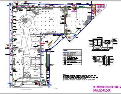 Plumbing Design of a Mall - Autocad DWG | Plan n Design