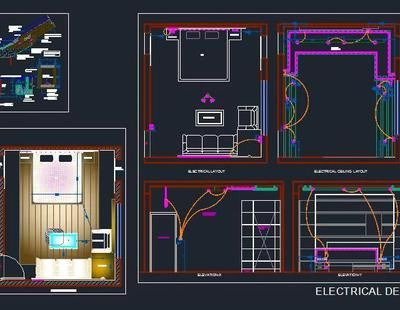 Bedroom Electrical And False Ceiling Design Autocad Dwg