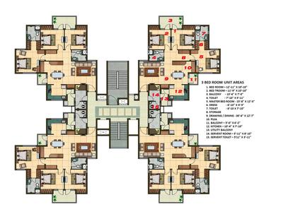 3 Bhk Apartment Cluster Tower Layout Photoshop Plan N