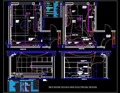 switch wiring diagram drawing bedroom ceiling and electrical design autocad dwg plan  bedroom ceiling and electrical design autocad dwg plan
